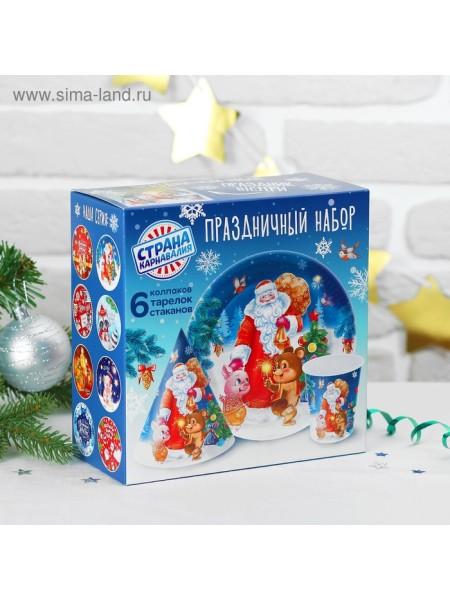 Набор бумажной посуды Дед мороз