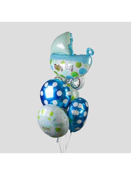 Набор шаров Рождение Мальчика коляска фоьга набор из 5 шт