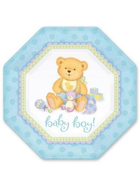 Тарелка бумага Медвежонок Мальчик набор 8 шт 25 см