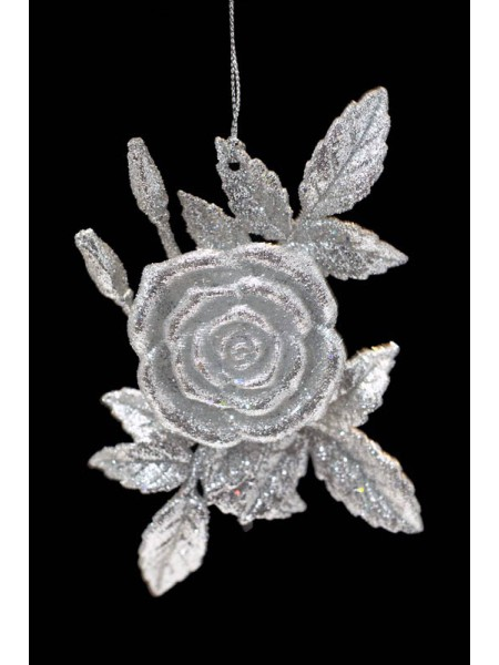 Декор Роза 13см пластик цв серебро