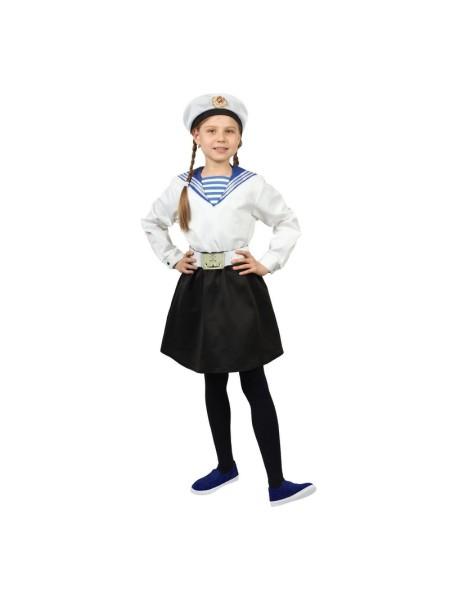 Костюм Морячка в бескозырке для девочки р-р 34 рост 134 белая фланка/юбка/ремень