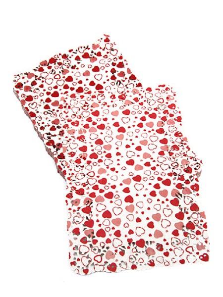 Салфетки ажурные цветные 190/02  19 х 30 см 1/250 прямоугольные красные сердечки