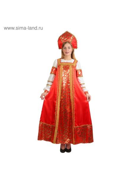 Русский костюм Любавушка, платье, кокошник атлас р.42, р.170 см