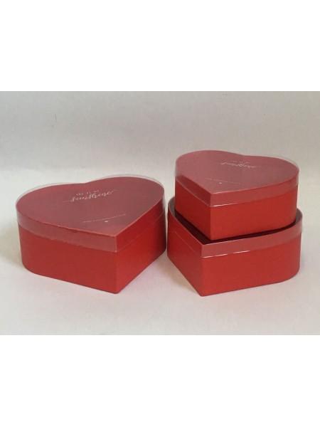 Коробка Сердце набор 3 шт 23 х 20,7 х 9 см прозрачная крышка цвет красный W7799