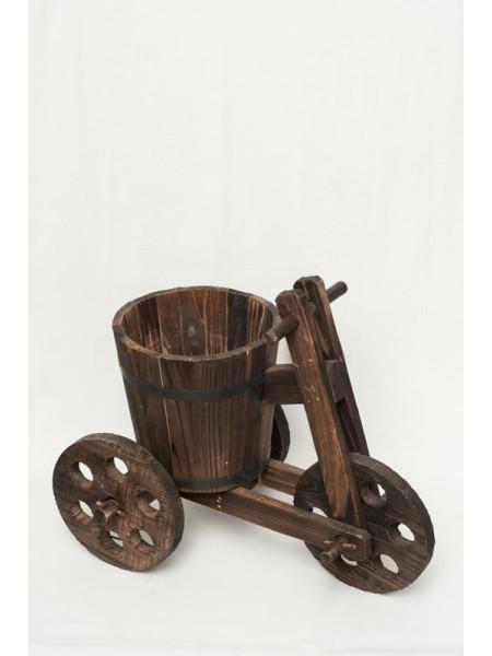 Велосипед деревянный 3х колесный малый с ведром 47 х 28 х 40 см
