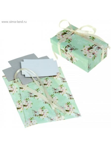 Набор для декорорирования подарочной коробки Нежные цветы 21 х 29,8 см