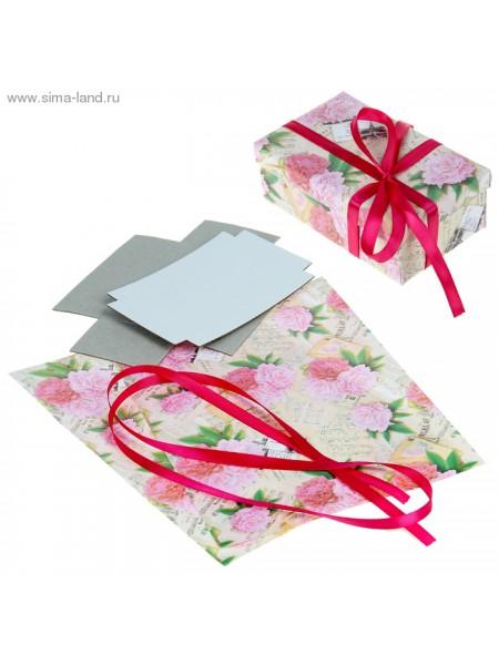 Набор для декорорирования подарочной коробки Пионы 21 х 29,8 см