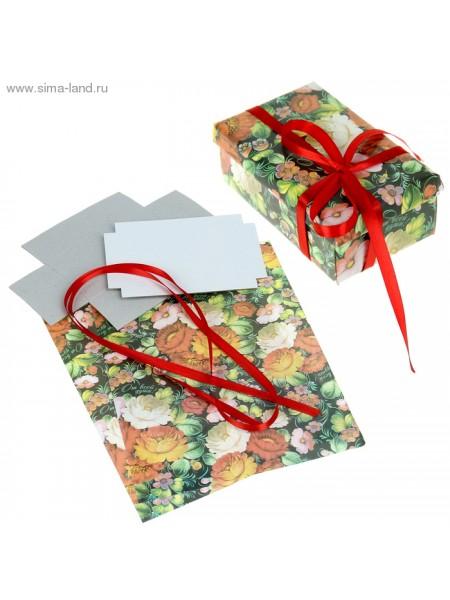 Набор для декорорирования подарочной коробки Яркие цветы 21 х 29,8 см
