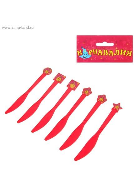 Набор пласт.ножей Смайлы (6шт) красные