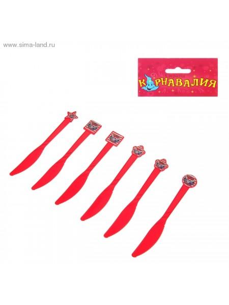 Набор пласт.ножей Пираты (6шт) красные