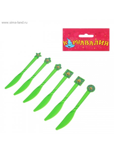 Набор пласт.ножей Тортики (6шт) зеленые