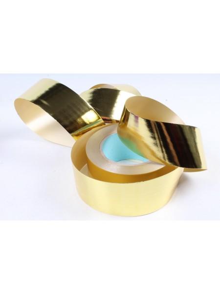Лента металл 5 см х 50 ярд цвет золотой М550