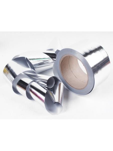 Лента металл 6 см х 50 ярд цвет серебрянный М644