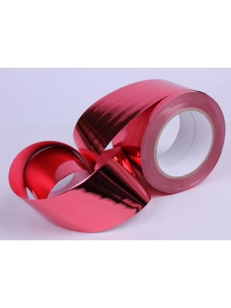 Лента металл 6 см х 50 ярд цвет красный М648