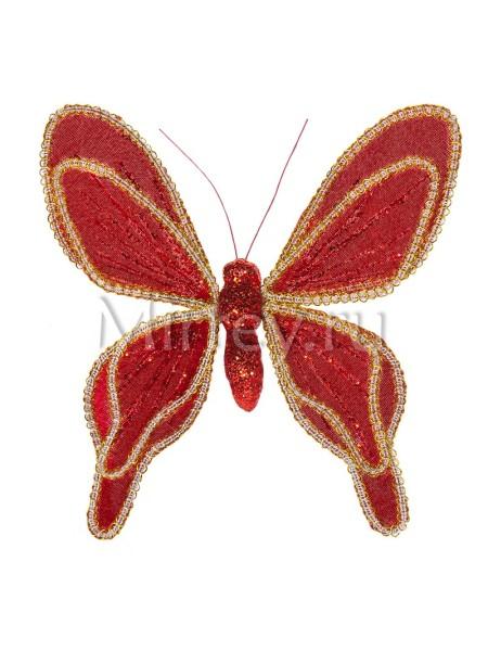Бабочка на клипсе 20см бархат-органза красный