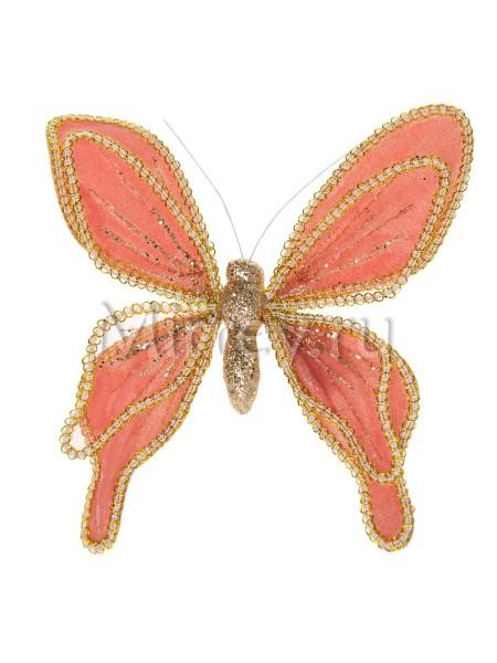 Бабочка на клипсе 20см бархат-органза розовый