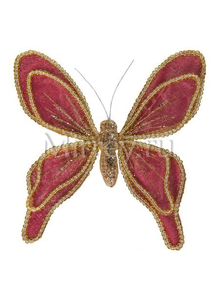 Бабочка на клипсе 20см бархат-органза ярко-розовый