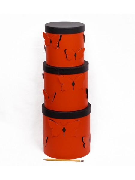 Коробка Бабочки с крышкой набор 3 шт цвет красный 21,5 хз 21,5 см/ 19 х 19 см/16,5 х 16,5 см