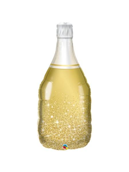 Фольга шар фигура 5 Бутылка шампанского золотая Qualatex