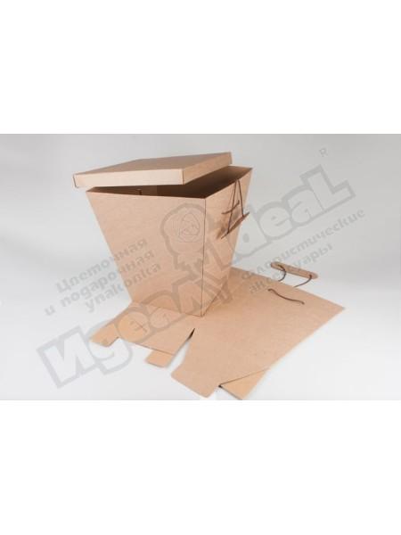 Коробка для букетов и композиций зимняя высота 42 см верх 38х38 низ 27х27