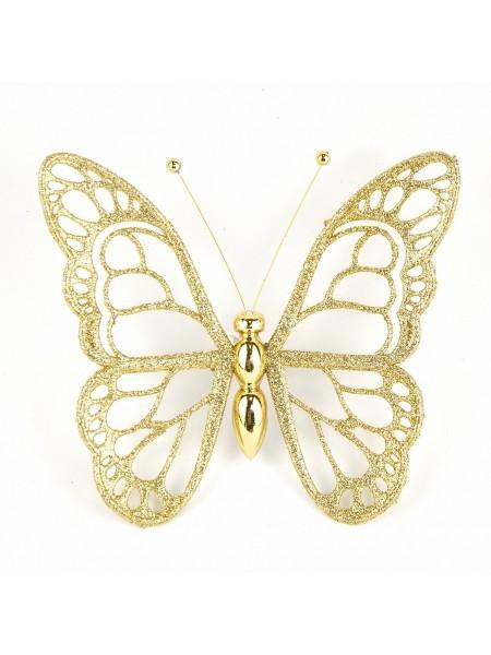 Бабочка с глиттером 12 х 14 см цвет золотой