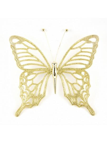 Бабочка с глиттером 15 х 15 см цвет золотой