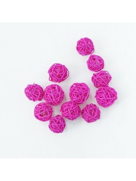 Набор шаров ротанг 3 см 12 шт цвет ярко-розовый