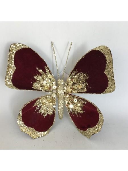 Бабочка 14 см на прищепке с глиттером цвет темно-красный