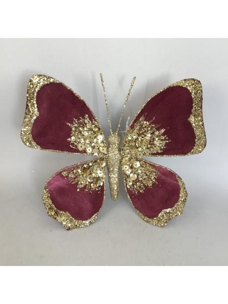 Бабочка 14 см на прищепке с глиттером цвет темно-розовый