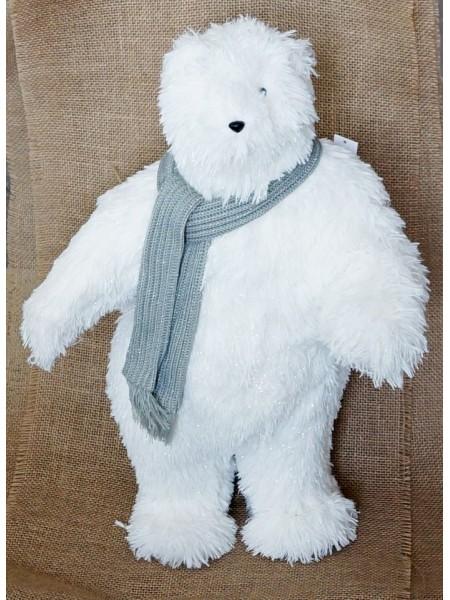 Белый мишка в шарфике стоящий  35 х 22 х 60 см