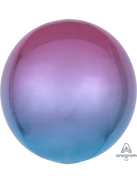 """Фольга шар 3D Сфера б/рис 16""""/40 см Омбре Фиолет - голубой"""
