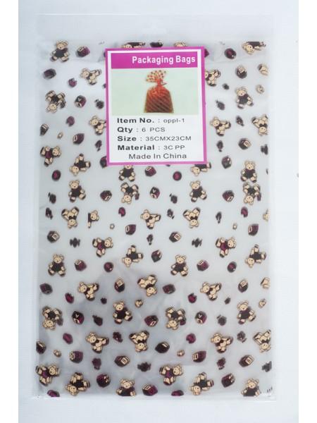 Пакет прозрачный с рисунком Мишки 23 х 35 см (6шт)