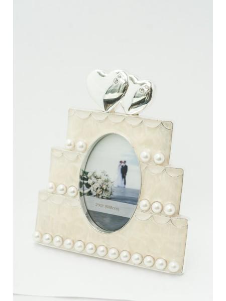 Фоторамка Два сердца на торте в бел.эмали со стр.