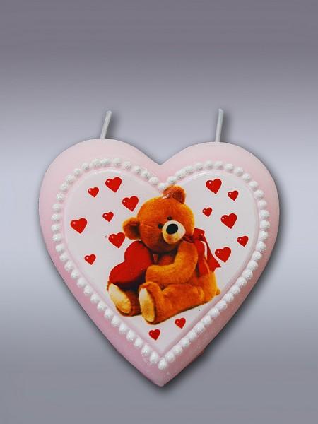 сердце мишка с сердцем (арома) свеча