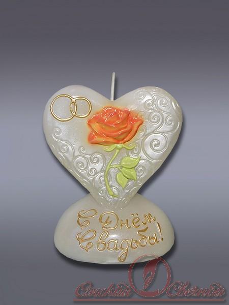 Сердце с розой свеча хамелеон