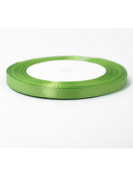Лента атлас 0,6 см х 25 ярд цвет зеленое яюлоко