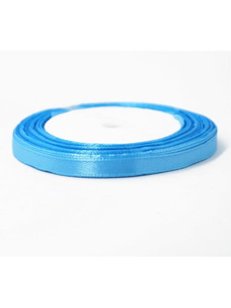 Лента атлас 0,6 см х 25 ярд цвет голубой