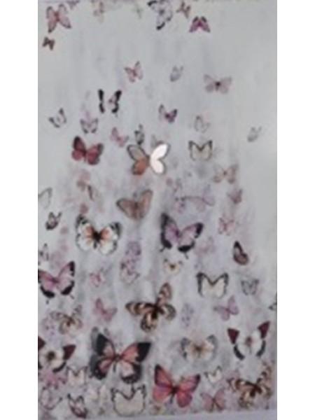 Картина металл Бабочки 53 х 80 х 2 см белый/розовый