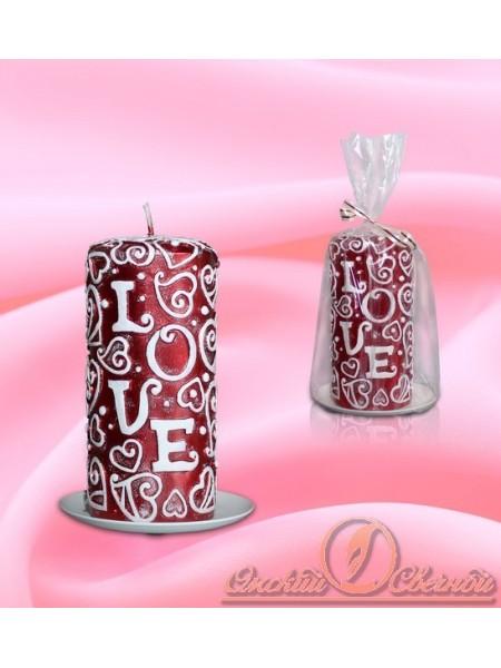 """Пенек""""Love"""" рубин свеча"""