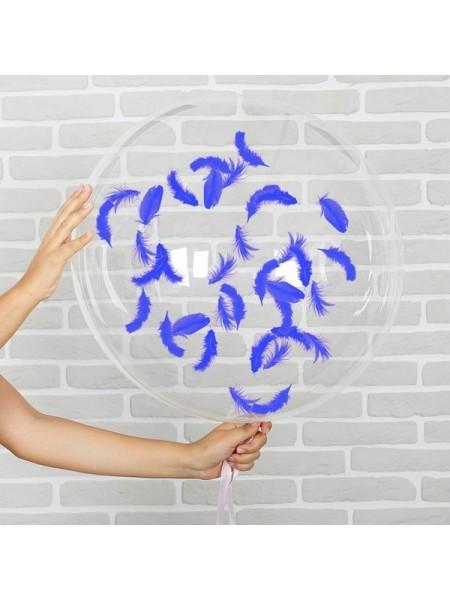 """Шар прозрачный 18"""" перья синие"""