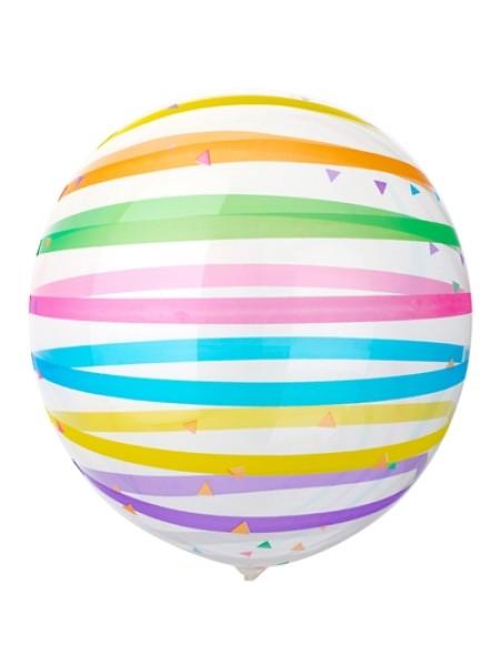 """Шар сфера Bubble 18""""/46 см Полосы разноцветные"""