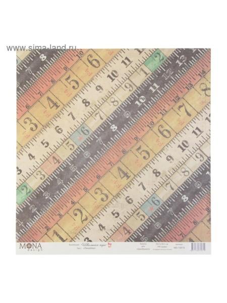 Бумага для скрапбукинга Линейки 30,5 х 30,5 см плотность 190 гр/ м2