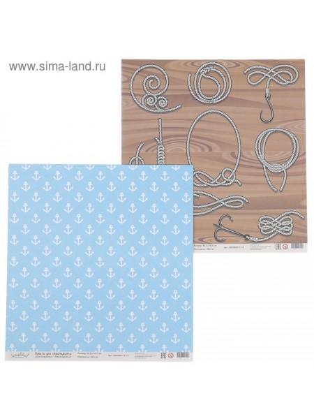 Бумага для скрапбукинга Морской Якорь и бечевка 30,5 х 30,5 см плотность 190 гр/ м2