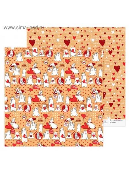 Бумага для скрапбукинга Мишки 30,5 х 30,5 см
