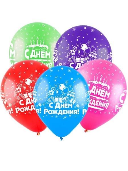 12 С Днем рождения Микс 3 дизайна пастель ассорти 100 шт Турция