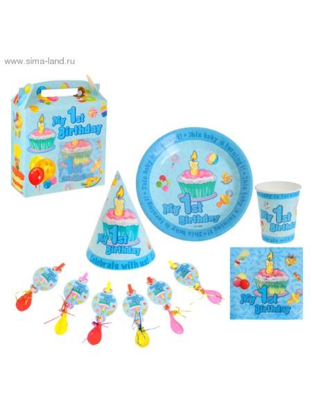 Набор бумажной посуды Мой первый день рождения голубой 6 комплектов