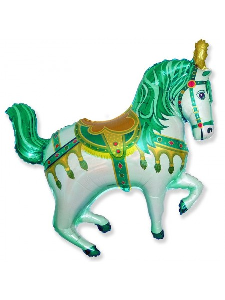 """Фольга шар Нарядная лошадь зеленый  38""""/95 см 1шт Испания"""