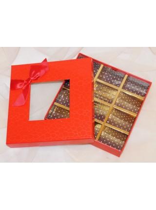 Коробка для конфет на 12 шт 16,5 х 16,5 х 4 см с окошком