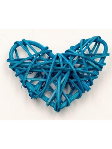 Сердце ротанг 7 х 8 см цвет синий 1/5 шт