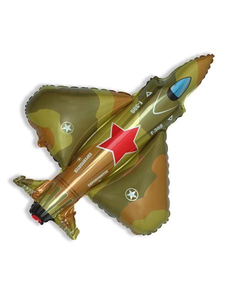 """Фольга шар Супер истребитель военный 14""""/35 см 1шт Испания"""